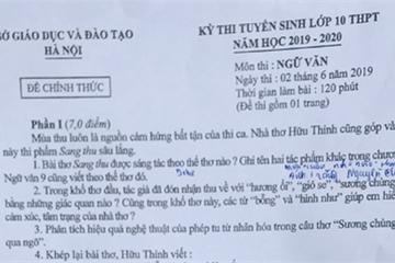 Đề thi môn Văn vào lớp 10 tại Hà Nội năm 2019