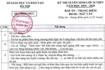 Đáp án chính thức môn Văn tuyển sinh lớp 10 tại Hà Nội