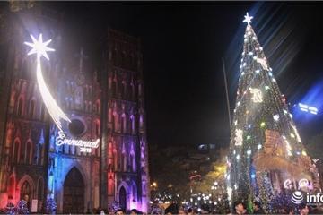 """Ngắm các cây thông """"khủng"""" lung linh sắc màu chào đón Noel 2019 tại Hà Nội"""