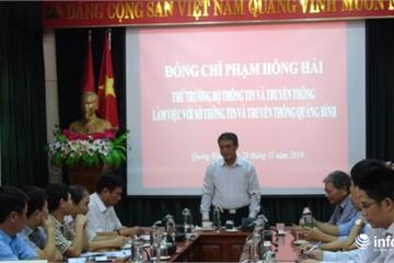 Thứ trưởng Bộ Thông tin và Truyền thông thăm và làm việc với Sở TT&TT tỉnh Quảng Bình
