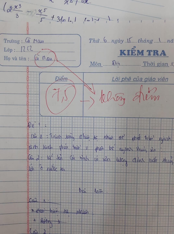 Giáo viên trừ thẳng tay từ 7,5 xuống 0 điểm, đọc lý do mà chỉ biết ngậm ngùi: Không chịu cũng phải chịu thôi! - Ảnh 1.