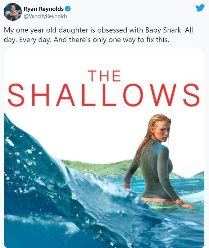 Con gái quá nghiện Baby Shark, Deadpool Ryan Reynolds cho con xem luôn phim mẹ bị... cá mập ăn thịt người tấn công - Ảnh 2.
