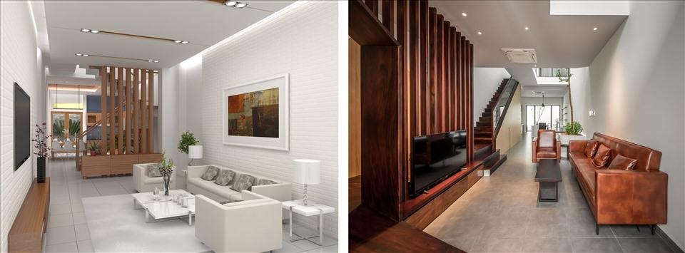 Tầng trệt nhà ở thường được sử dụng để bố trí các không gian sinh hoạt chung. Đồ họa: Trang Thiều