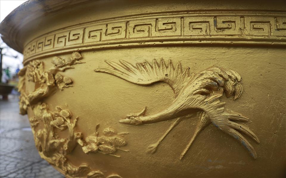 2 chậu mai cũng được anh Trương Hòa Phong đặt một cách cầu kỳ, phức tạp để tăng lên vẻ đẹp của mai. Ảnh: HL