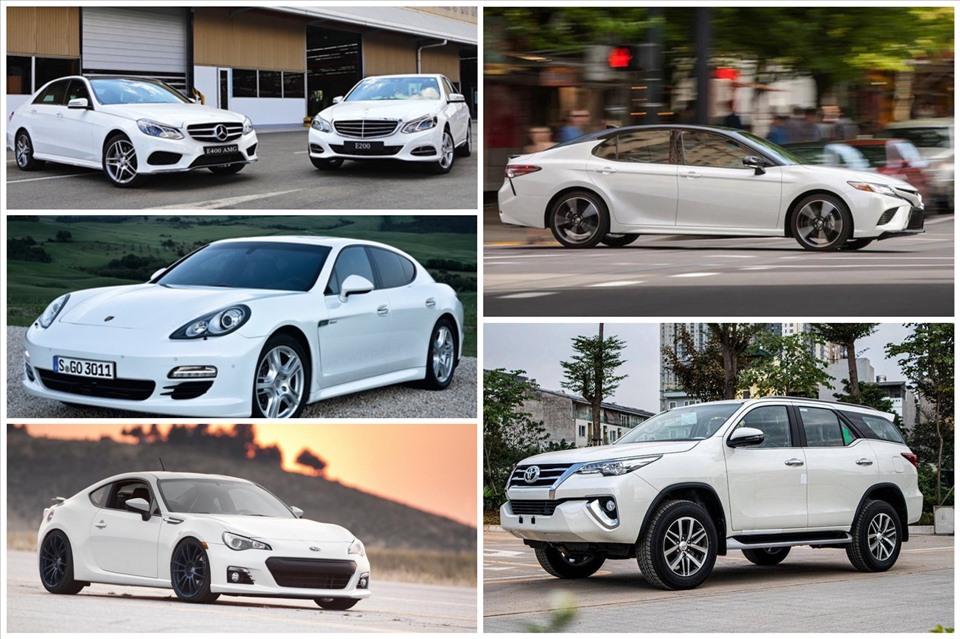Ảnh minh hoạ các loại ôtô màu trắng đang được ưu chuộng trên thị trường. Đồ hoạ: Ánh Nhiên