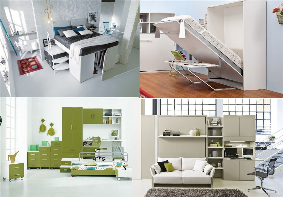 Sofa, giường tầng, tủ quần áo thông minh là những vật dụng không thể thiếu trong bộ sưu tập nội thất thông minh trong phòng ngủ. Đồ họa: M.H