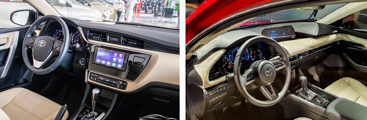 Nội thất của Mazda 3 và Corolla Altis đều có những điểm nhấn đặc biệt. Đồ họa: M.H