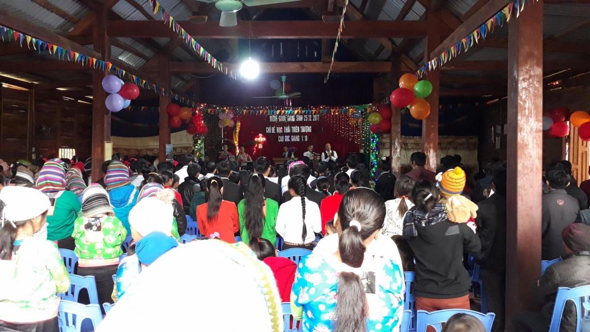 Một buổi sinh hoạt tôn giáo hợp pháp ở huyện Mường Nhé, tỉnh Điện Biên.