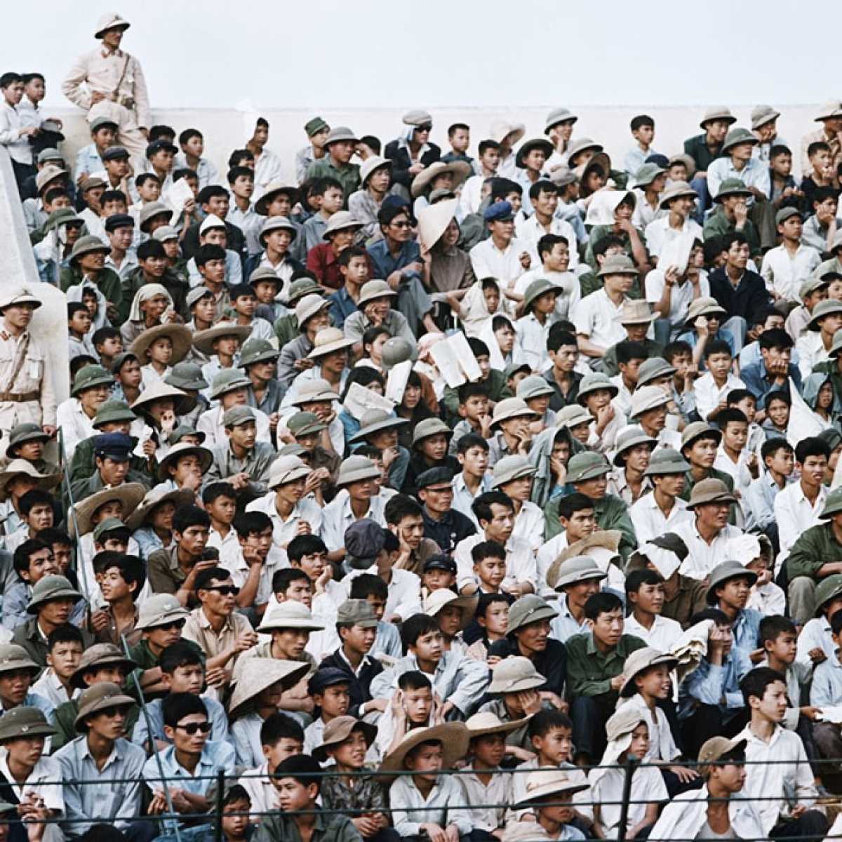 The Hang Day stadium in 1975 is packed with cheering football fans.