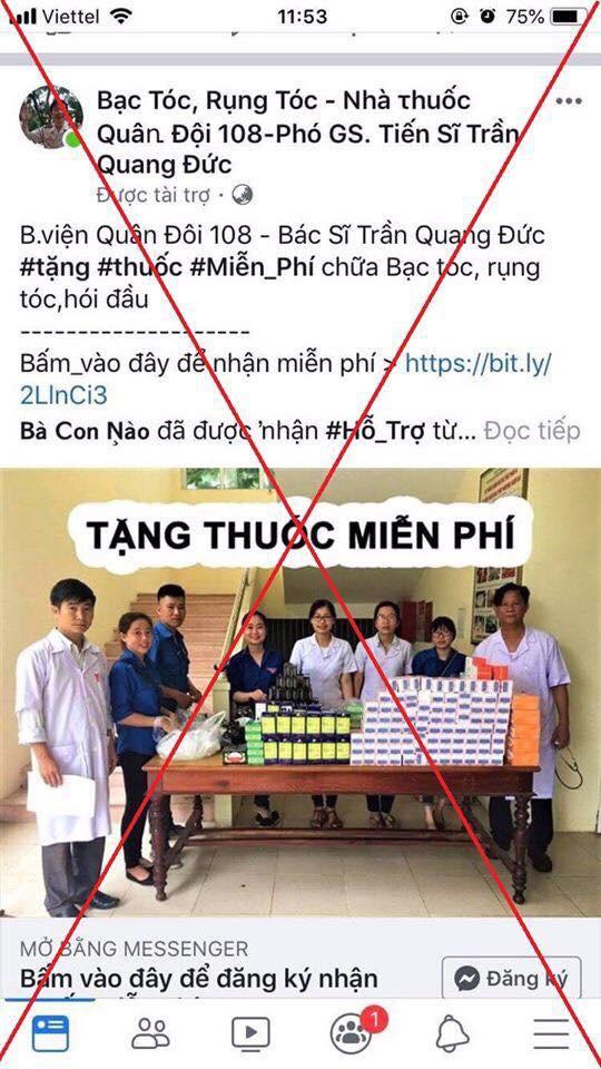 Bệnh viện khẳng định Trang fanpage này không phải của bệnh viện TW Quân đội 108. Ảnh: BV cung cấp