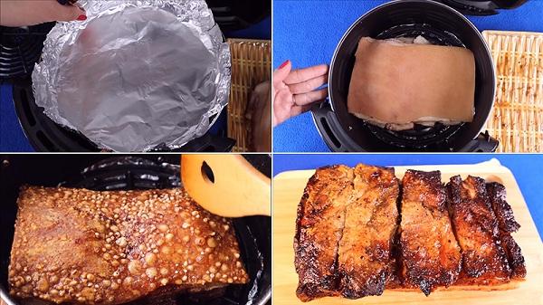 cách làm thịt heo quay giòn bằng nồi chiên không dầu 2