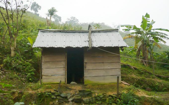 Ngôi lán, nơi ông Nguyễn Hồng Công ở trong nhiều năm để đào tìm kho báu. Ảnh: T.P.