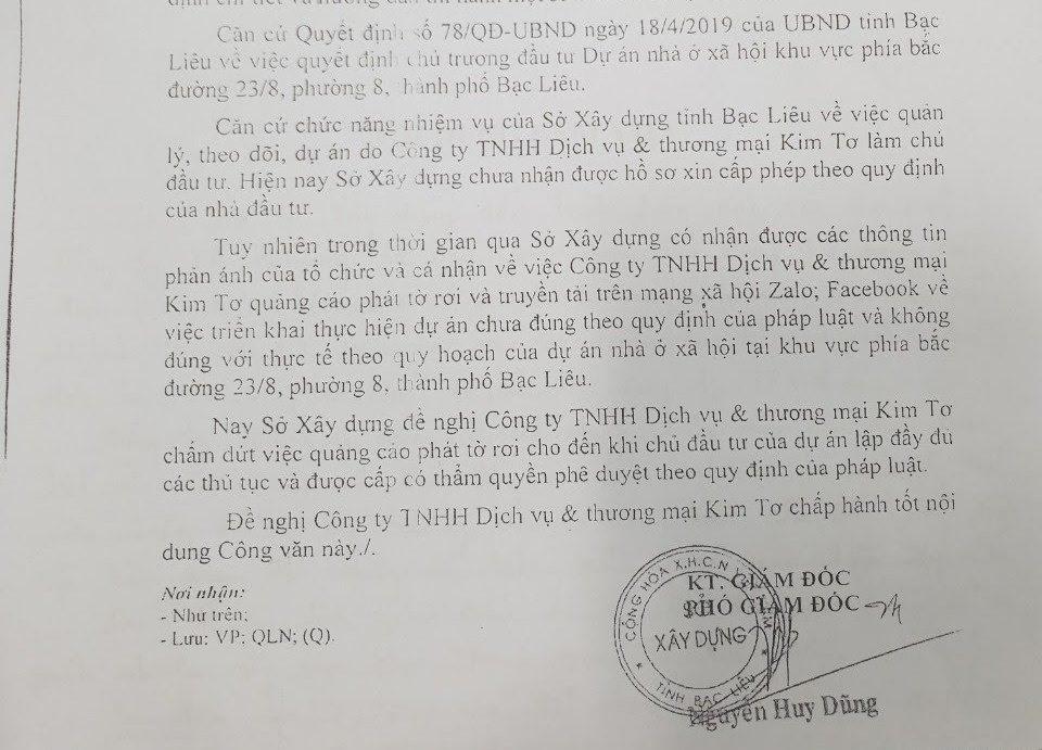 Công văn của Sở xây dựng Bạc Liêu nhắc nhỡ Cty Kim Tơ quảng cáo không đúng sự thật về dự án (ảnh Nhật Hồ)