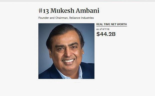 Theo số liệu cập nhật từ Forbes, Mukesh Ambani hiện đang giữ khối tài sản 44,2 tỉ USD, đứng thứ 13 trong top những người giàu có nhất thế giới.