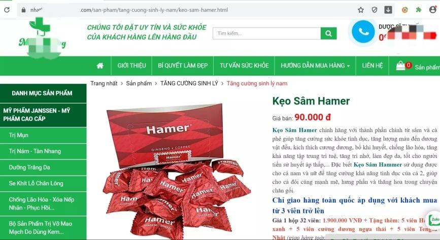 Nhà thuốc cũng bán kẹo sâm Hamer. Ảnh: chụp màn hình