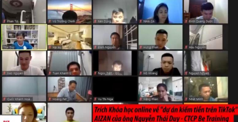 """Khóa học online """"dự án kiếm tiền trên TikTok"""" Aizan của ông Nguyễn Thái Duy."""