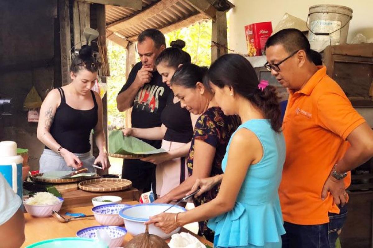 Visitors at a homestay facility in Ben Tre Province. (Photo: Hoang Anh)