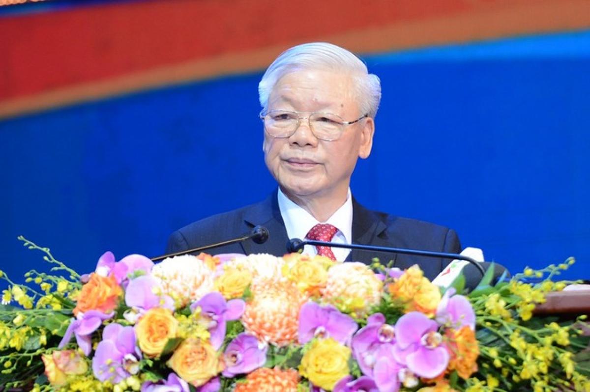 Tổng Bí thư, Chủ tịch nước Nguyễn Phú Trọng phát biểu tại lễ kỷ niệm. Ảnh: Tiền Phong