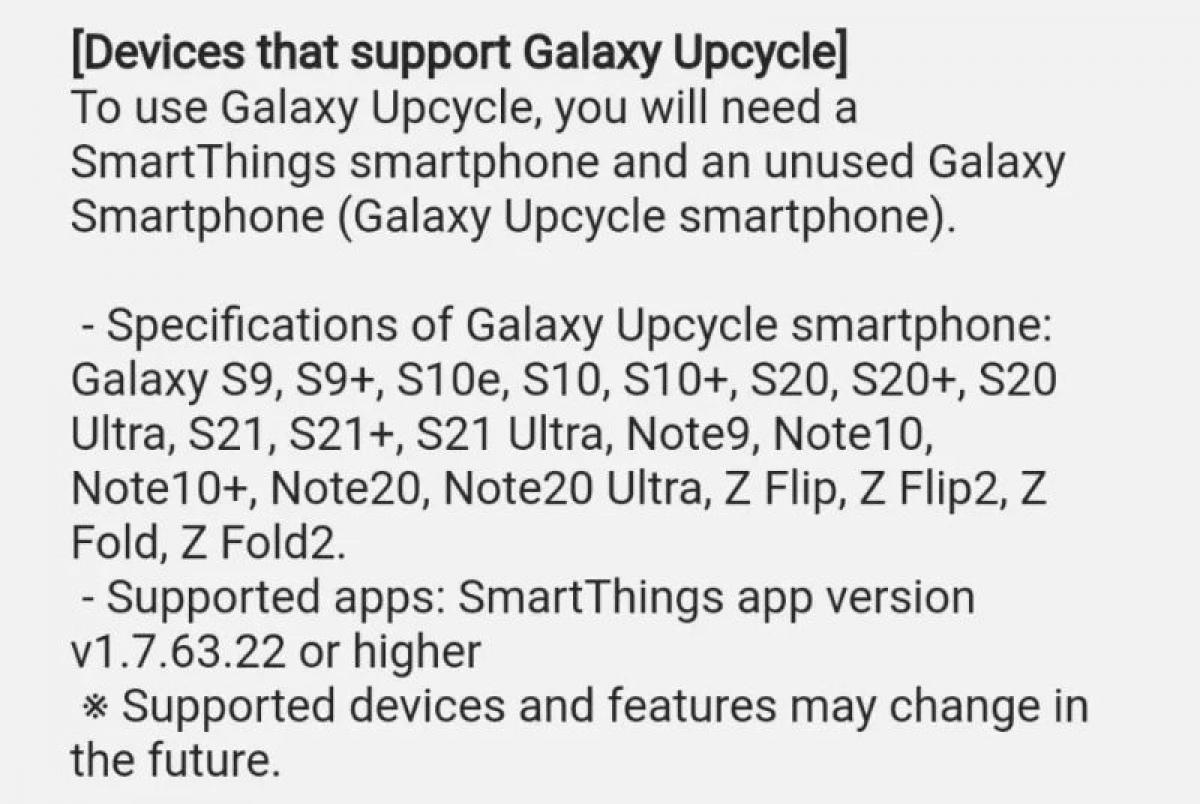 Danh sách các thiết bị của Samsung hỗ trợ Galaxy Upcycling.