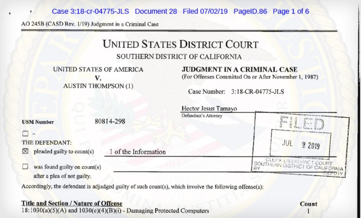 Tài liệu trong phiên xét xử củaAustin Thompson.