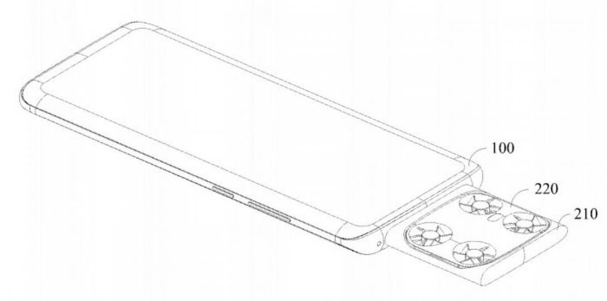Phác thảo điện thoại thông minh tích hợp flycam mini.