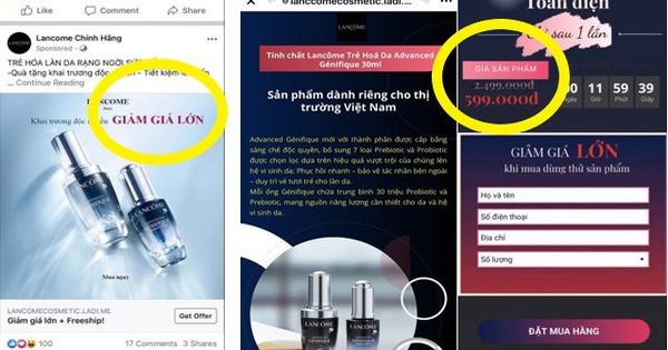 Lancôme Việt Nam cảnh báo hàng loạt fanpage, website lừa đảo