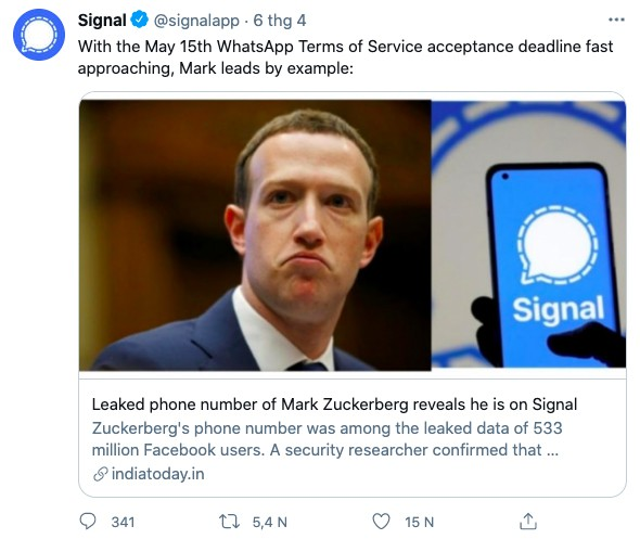 CEO Facebook chuyển sang dùng cả Signal ảnh 2