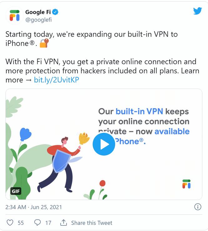 Google thêm dịch vụ VPN trong gói Google Fi cho người dùng iPhone ảnh 1