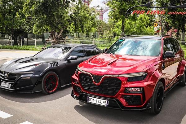 Hội ngộ cặp xe VinFast LUX độ widebody khủng ở Sài Gòn