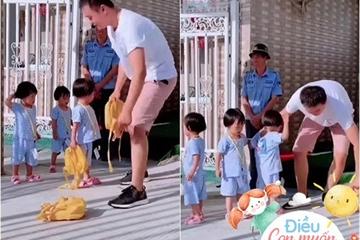 Bố đón con muộn, phản ứng của cô bé khiến bác bảo vệ phía sau cũng gật gù