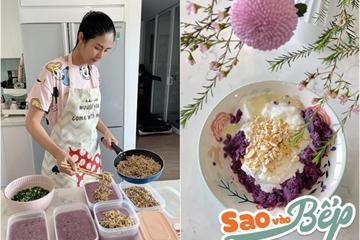 """Sao vào bếp: """"Hoa hậu đảm nhất vịnh Bắc Bộ"""" khoe loạt món ăn từ khoai lang tím đẹp mắt"""