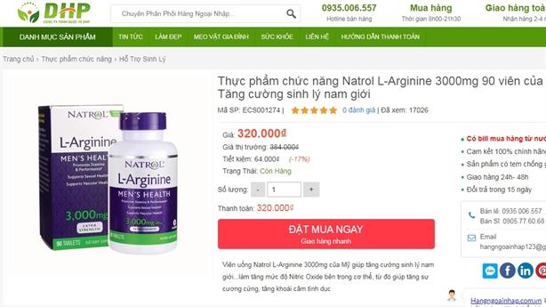 Cẩn trọng khi mua sản phẩm Natrol L-Arginine ở một số trang web