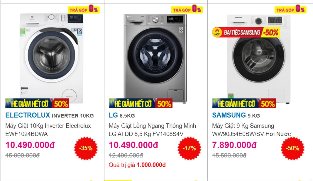 Máy giặt lồng ngang giảm giá không phanh đầu hè, có mẫu chỉ 5,3 triệu đồng - Ảnh 1.