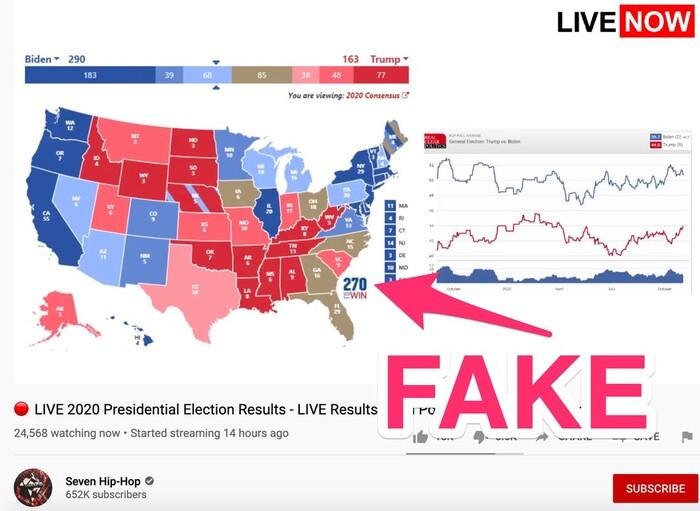 Hàng nghìn người bị lừa xem kết quả bầu cử Tổng thống Mỹ giả mạo trên YouTube Ảnh 2