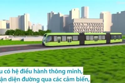 Tàu điện tự hành chạy trên đường nhựa ở Qatar
