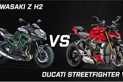 """Khi Kawasaki  Z H2 """"đối đầu"""" Ducati Streetfighter V4: Cân tài cân sức"""