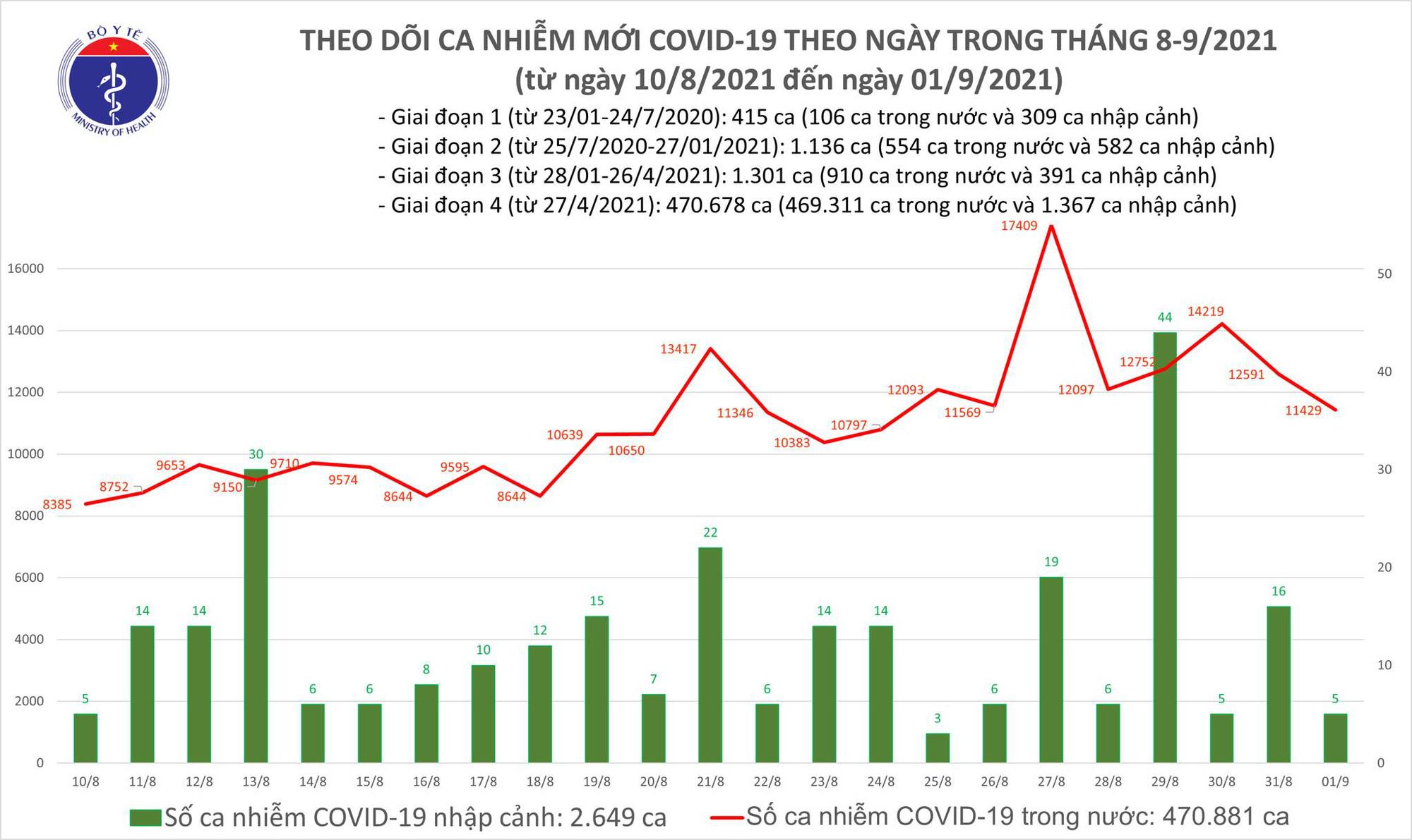 Tối 1/9: Thêm 11.434 ca mắc COVID-19, TP HCM nhiều nhất với 5.368 ca - Ảnh 1.