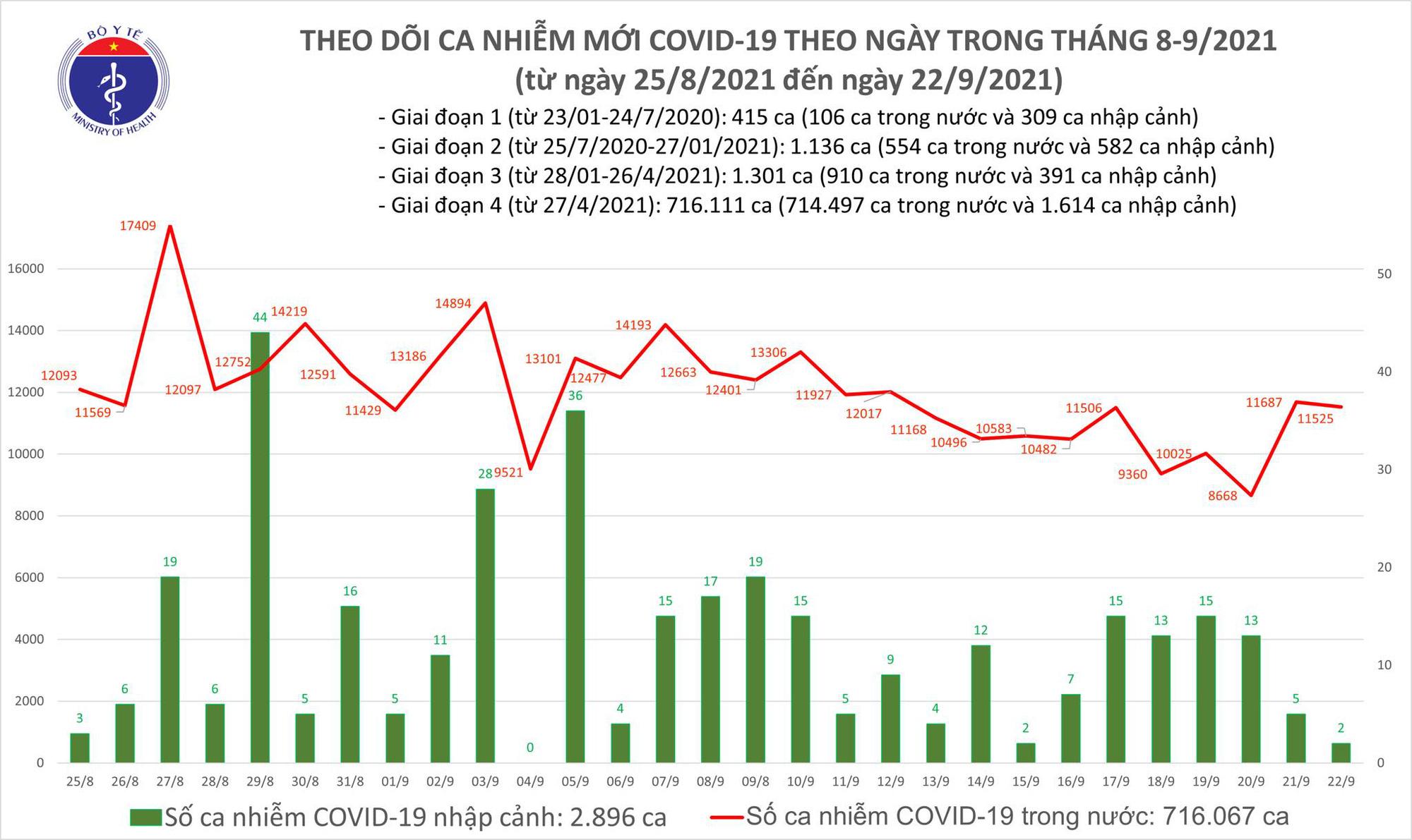 Ngày 22/9: Có 11.527 ca mắc COVID-19, riêng TP HCM và Bình Dương đã ghi nhận hơn 9.600 ca - Ảnh 2.