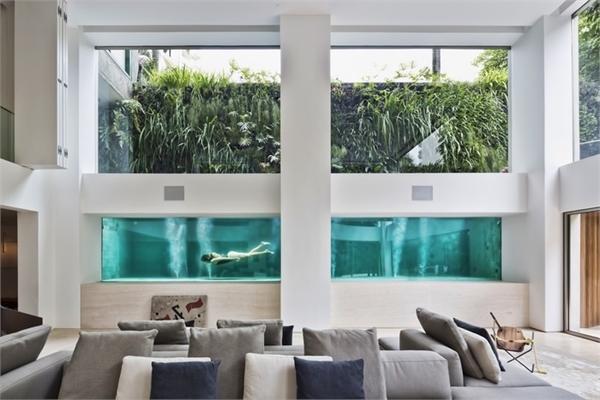 Đẹp ngoạn mục ngôi nhà sở hữu bể bơi kính có thể nhìn xuyên từ phòng khách