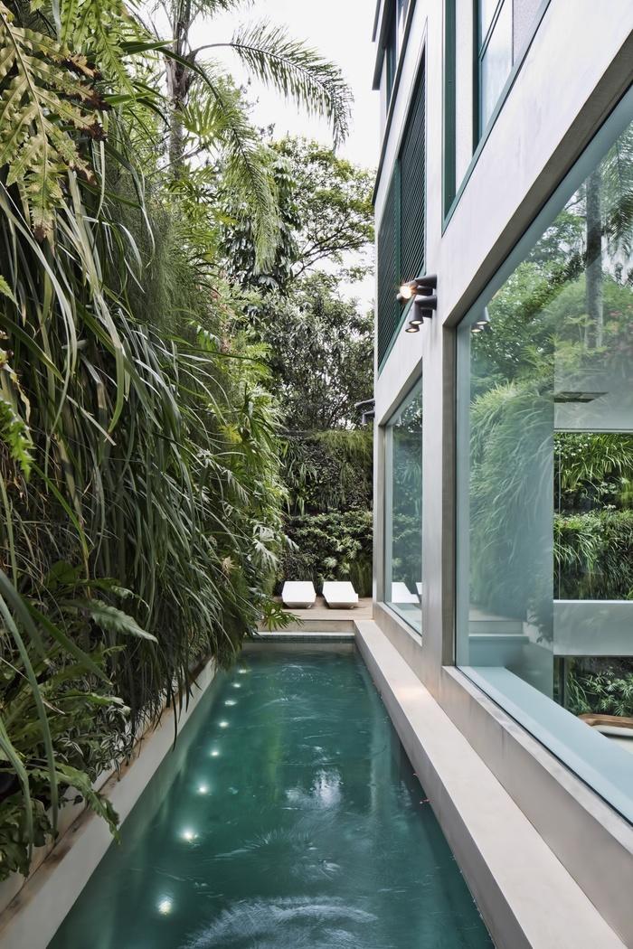 Đẹp ngoạn mục ngôi nhà với bể bơi kính nhìn xuyên từ phòng khách