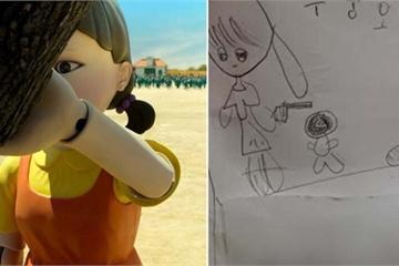 """Bức vẽ phim """"Trò chơi con mực"""" của đứa trẻ 7 tuổi gây tranh cãi: Tại sao lại để con nít xem phim 18+?"""