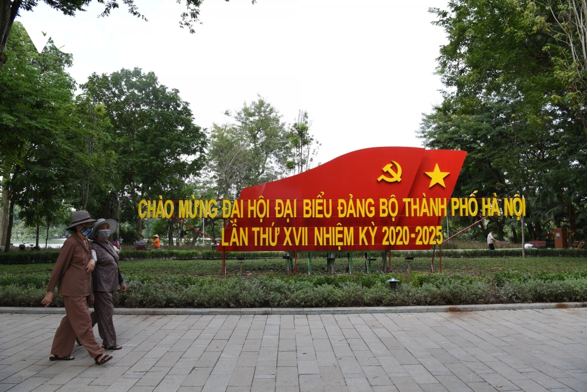 A large-sized banner can be seen next to the banks of Ho Guom, also known as Sword lake, ahead of the 17th municipal Party Congress for the 2020-2025 term.