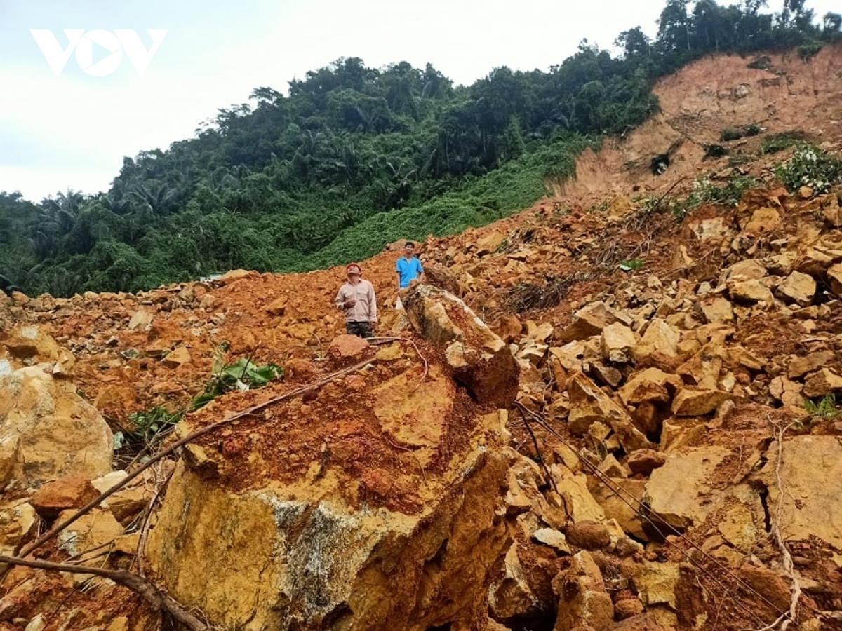 A scene of devastation as the landslide changes the landscape around the power plant