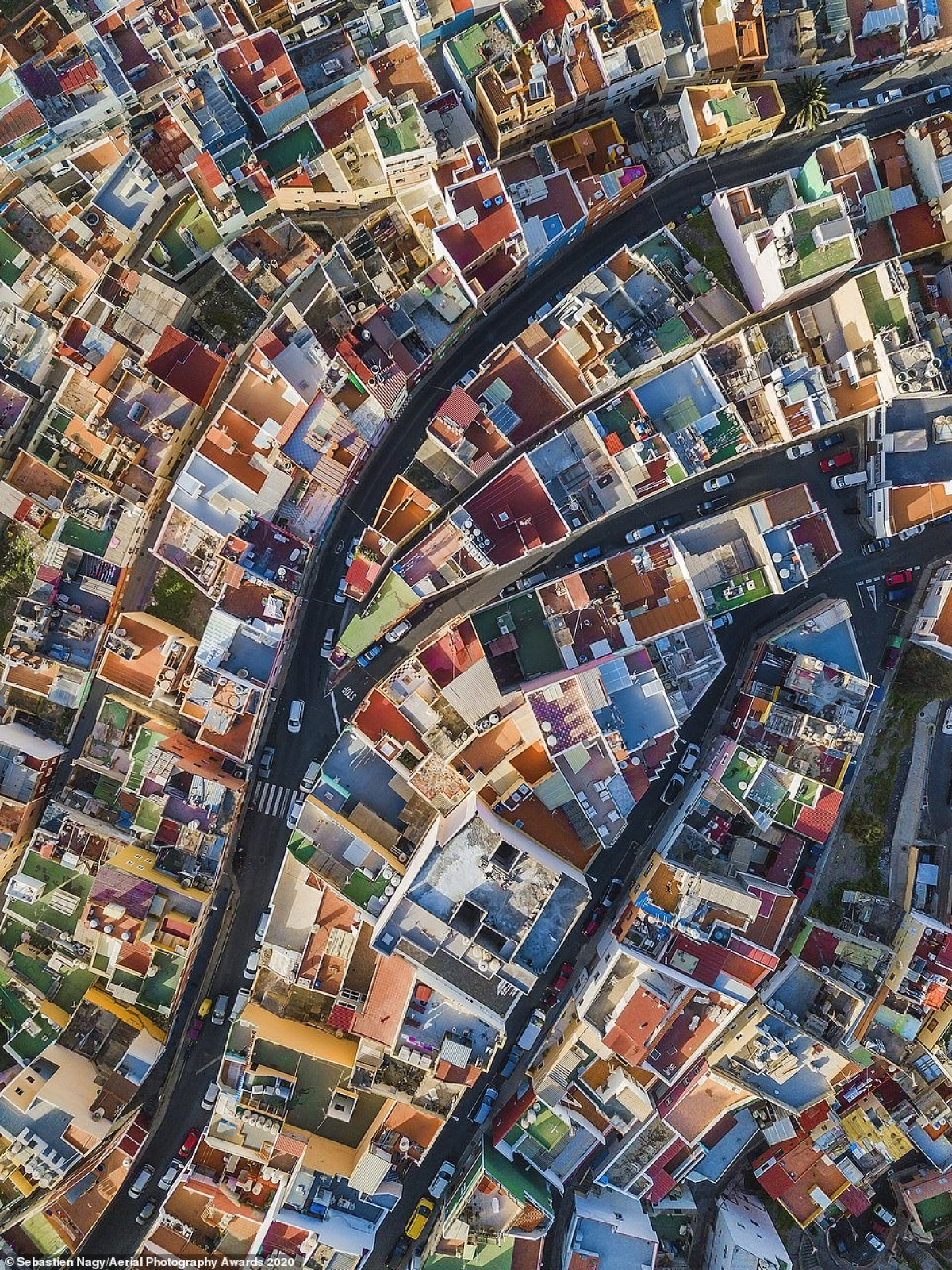 The colourful roofs of Las Palmas de Gran Canaria can be seen in a shot by Sebastien Nagy that ultimately compelled judges to award it first prize in the Cityscapes category.