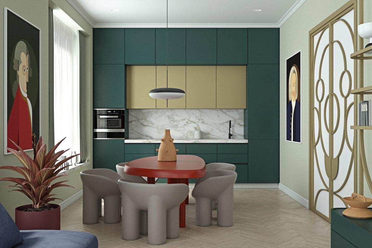 Màu xanh đậm và nhạt kết hợp khá hài hòa trong cùng một không gian bếp.