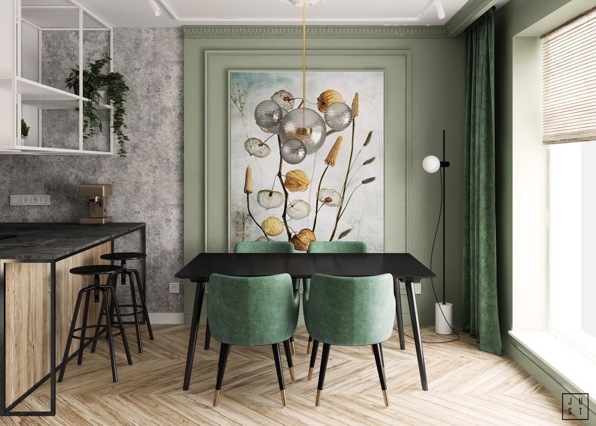 Ghế và rèm cùng tông màu xanh giúp hoàn thiện một căn phòng ăn sang trọng, quý phái.