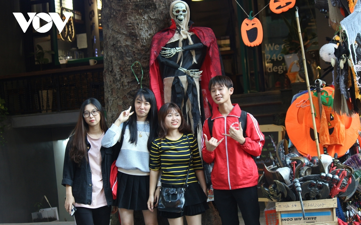 Young people are able to buy decorative items and snap fun photos each Halloween.
