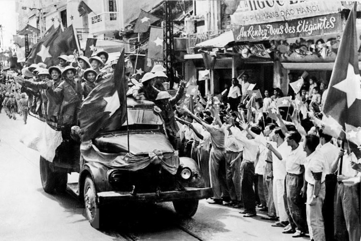 To commemorate their victory, military forces march into the capital on the morning of October 10, 1954, Hanoi's first liberation day.