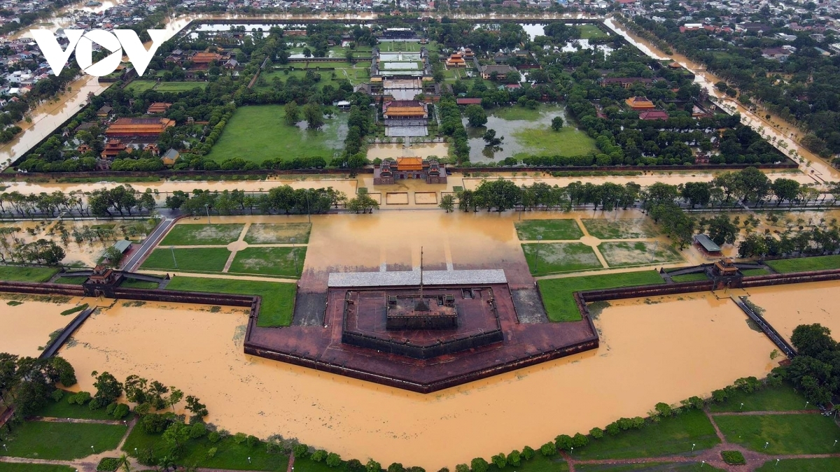 A panoramic shot of Hue Imperial Citadel from high above