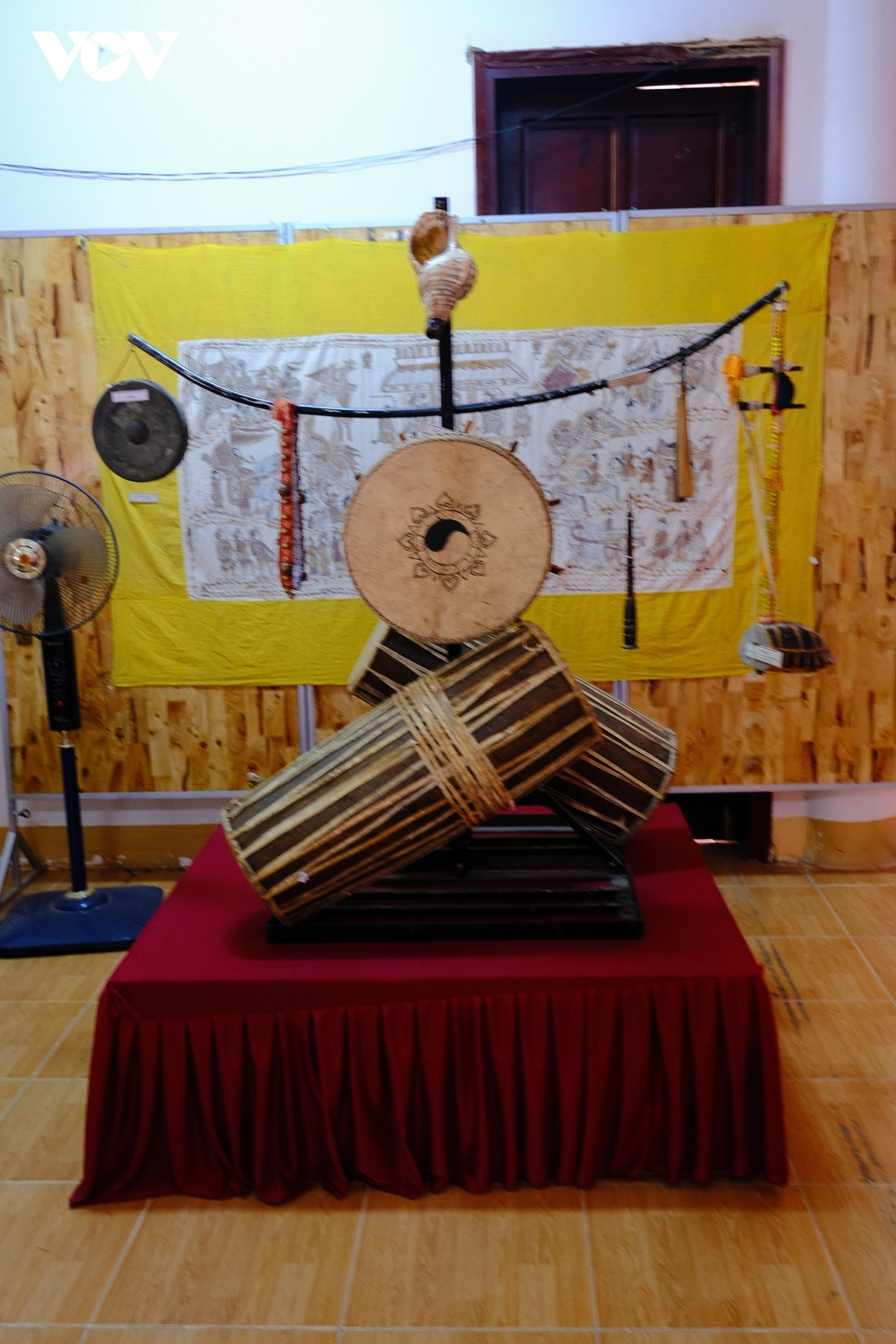 Musical instruments of the Cham people on show at the Champa culture museum.